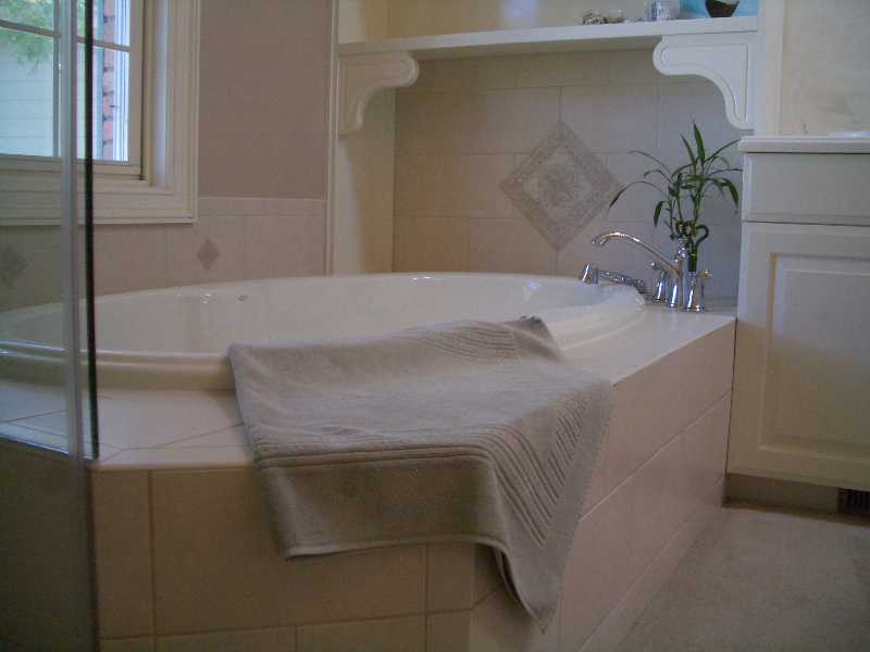Ceramic master bathroom shower and tub deck installation in Fort Collins