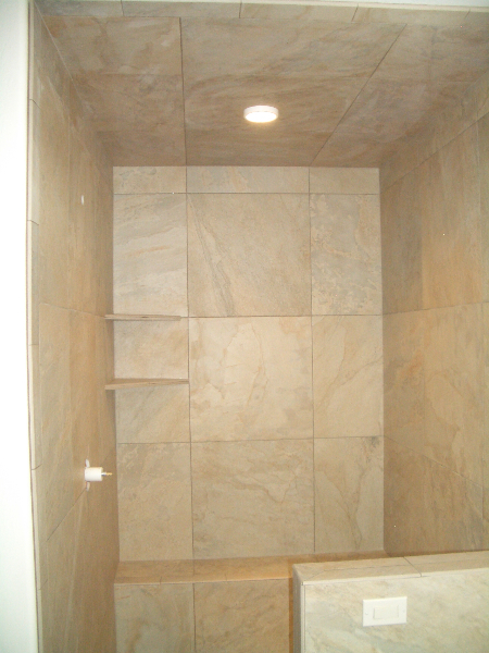 Large format porcelain shower tile installation in Fort Collins, Colorado