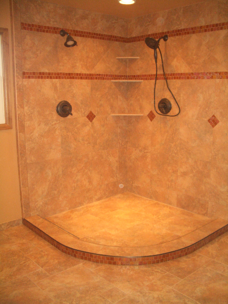 Porcelain and glass shower tile installation in Fort Collins, Colorado