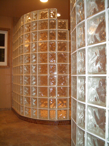 Porcelain and glass shower tile with glass block installation in Fort Collins, Colorado