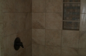 Porcelain shower tile installation in Loveland, Colorado