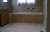Marble master bathroom tile installation in Fort Collins, Colorado