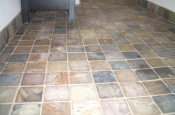 Slate bathroom floor tile installation in Fort Collins, Colorado