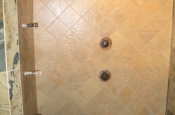 Porcelain master bathroom steam shower tile installation in Fort Collins, Colorado