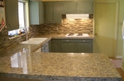 Beige Stack glass tile kitchen backsplash
