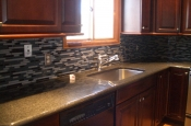 Grey Stack glass tile kitchen backsplash