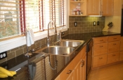 Khaki 3x6 glass subway tile backsplash