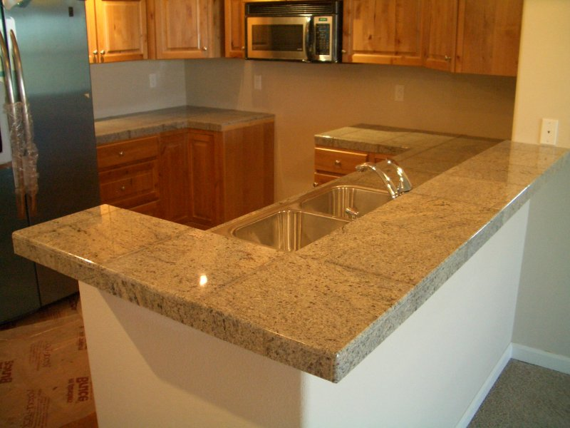 Tile Countertops For Kitchens : Granite tile kitchen countertop and bar