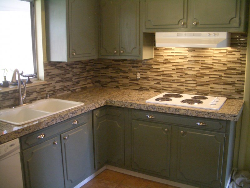 kitchen granite tile countertop and glass backsplash last