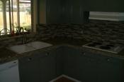 Kitchen Granite Tile Countertop and Glass Backsplash last 1