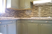 Kitchen Granite Tile Countertop and Glass Backsplash finish 1