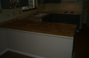Kitchen Granite Tile Countertop and Glass Backsplash before