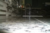 Kitchen Granite Tile Countertop and Glass Backsplash end 1