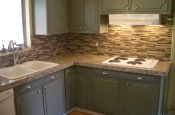 Kitchen Granite Tile Countertop and Glass Backsplash last