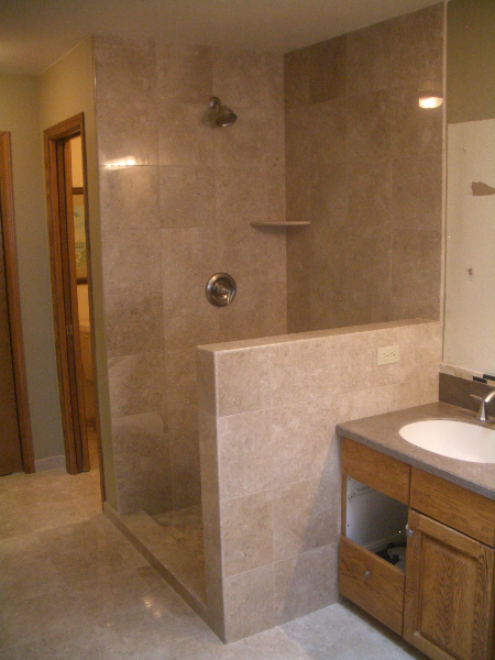 We Installed A Nice 2×2 Mosaic Tile On The Shower Floor Which Accented The  Main Wall And Floor Tile Nicely. On The Bathroom Floor And Shower Walls We  ...