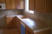 Porcelain kitchen countertops and backsplash