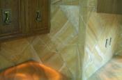Onyx kitchen countertops and backsplash