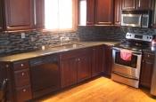 Glass mosaic kitchen backsplash