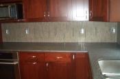 Marble and glass kitchen tile backsplash