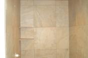 Shower wall tile installed