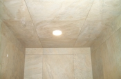 Tiled shower ceiling