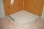 Kerdi-board shower with in-floor heat in Fort Collins