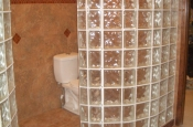 Curved Glass block bathroom walls in Fort Collins, CO