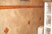 Florida Tile Taconic Slate porcelain master bathroom with glass block walls in Fort Collins