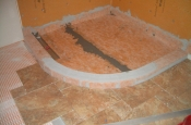 Porcelain floor tile and shower pan flood testing