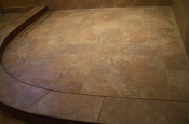 Porcelain shower floor with Schluter linear drain