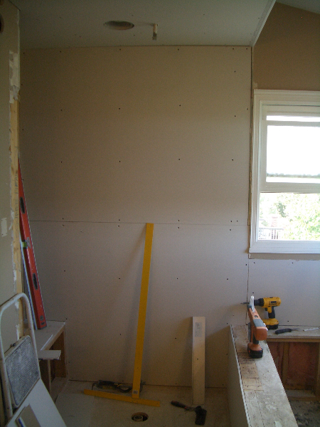Drywall in shower ready to install Schluter Kerdi