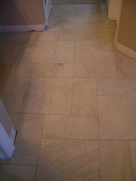Porcelain bathroom floor tile installation