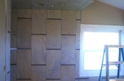 Porcelain and glass tile master bathroom tile installation