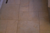 Patterned porcelain floor tile installation in Northern Colorado