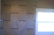 Porcelain and glass shower tile installation
