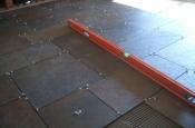 Porcelain slate basketweave floor