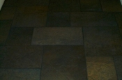 Porcelain slate basketweave tile floor