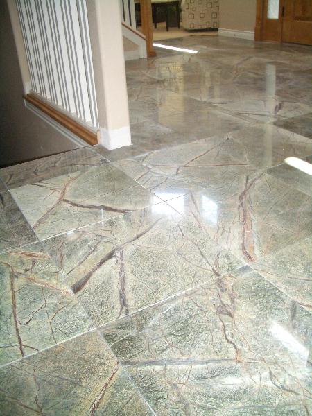 Rainforest Green Marble Tile : Rainforest green marble floor in longmont