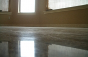Rainforest green marble tile installation with in-floor heat