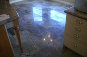 Kitchen and dining room marble floor tile installation