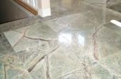 Rainforest green marble tile installation