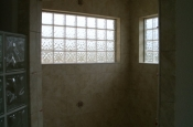 Ceramic and glass block master bathroom shower in Fort Collins, Colorado