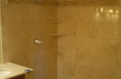 Master bathroom marble shower in Fort Collins, Colorado