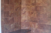 Porcelain and granite master bathroom shower tile in Red Feather Lakes, Colorado