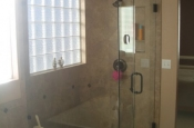 Porcelain and bronze master bathroom shower tile in Fort Collins, Colorado