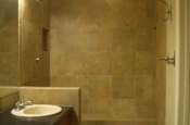 Porcelain master bathroom curbless shower tile in Fort Collins, Colorado