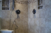 Ceramic and glass master bathroom shower tile in Fort Collins, Colorado