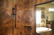 Porcelain master bathroom shower tile in Fort Collins, Colorado