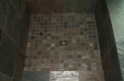 Slate master bathroom shower tile in Erie, Colorado
