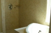 Ceramic master bathroom shower tile in Longmont, Colorado